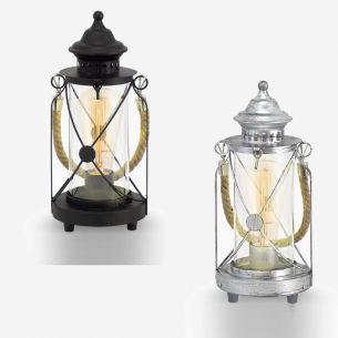 Tischleuchte im Vintage Stil - Laternenform - Silber-Antik oder Schwarz -  Klares Glas - Für Leuchtmittel E27