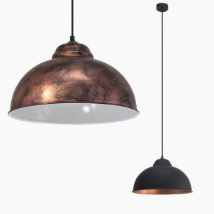 Pendelleuchte im Vintage-Stil - Kupferfarbig-Antik oder Schwarz-Kupfer - Für Leuchtmittel E27 60 Watt