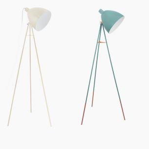 Stehleuchte im Retro-Design  - Sandfarben oder Mint - Für Leuchtmittel E27 60 Watt