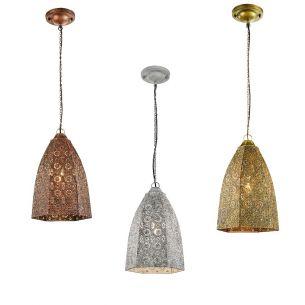 Retro-Pendelleuchte aus Metall im Vintage-Stil - geeignet für E14-Leuchtmittel maximal 40 Watt - 3 Farben wählbar