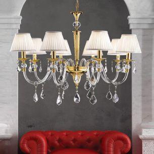 Hochwertiger Kronleuchter - 5-, 6- oder 8-flammig - 2 Oberflächen - Mit 24 Karat Gold - Für Leuchtmittel E14  40 Watt