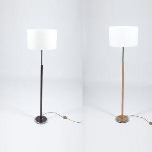 Klassische Stehleuchte - Mit Stofflampenschirm und Holzfuß - Für Leuchtmittel E27 maximal 60 Watt