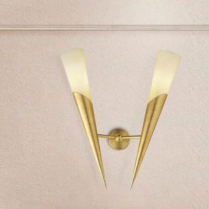 Klassische Wandfackel -  2-flammig - 3 Oberflächen - Für Leuchtmittel E14  60 Watt
