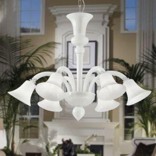 Kronleuchter aus handgefertigtem Muranoglas - 3 Farben - 6-flammig - Für Leuchtmittel E14 maximal 40 Watt
