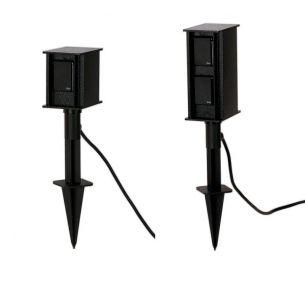 Steckdosenspieß aus Aluminiumguss in Schwarz - mit 2 oder 4 Steckdosen