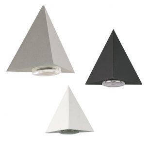 Wandleuchte aus Aluminiumguss in Dreiecksform - in schwarz, weiß oder silber wählbar