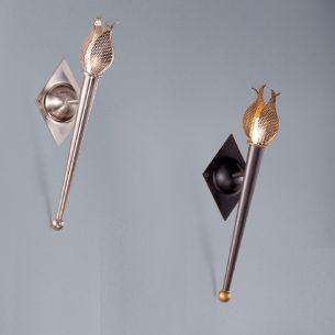 Fackelleuchte mit Metallflammen in Nickel-gebürstet oder Rost-antik 40cm Höhe