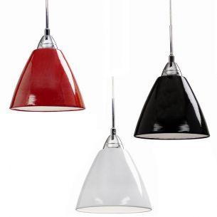 Modernes Deckenpendel mini mit Schirm aus Metall in tollen Farben in rot, weiß oder schwarz