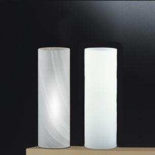 Moderne Tischleuchte aus Glas in Opal,-oder Alabasterglas lieferbar