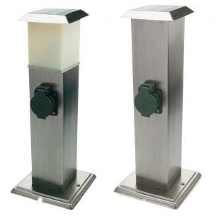 2-fach-Steckdosensäule aus Edelstahl mit LED-Beleuchtung oder ohne Beleuchtung