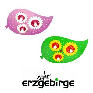 Niedliche LED-Deckenleuchte fürs Kinderzimmer in Blattform und Blüten - 2 Farben wählbar