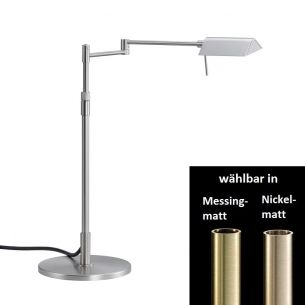 LED-Tischleuchte mit Tastdimmer - höhenverstellbar - in Nickel-matt oder Messing-matt - Inklusive LEDs