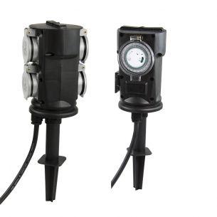 Energieverteiler aus schwarzem Kunststoff - 4fach oder 2fach mit Timer - IP44 - maximal 3500W