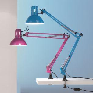 Schreibtischleuchte mit Klemme in Weiß, Schwarz, Silber Grün, Blau oder Violett