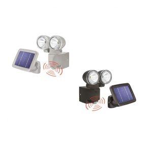 2er-LED-Solar-Strahler mit 90° Bewegungsmelder in Schwarz oder Grau