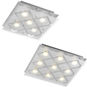 Zeitlose LED Deckenleuchte - Chrom - Glas satiniert mit klaren Einsätzen - 5- oder 9-flammig