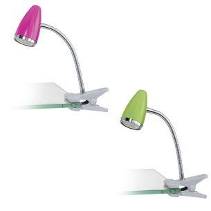 Schwenkbare LED-Klemmleuchte aus verchromtem Stahl und Kunstsoff - wählbar in Pink und Grün