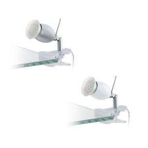 Schwenkbare LED-Klemmleuchte aus verchromtem Stahl und Kunstsoff - wählbar in silber oder weiß