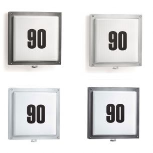 Design LED - Außenleuchte - Hausnummernleuchte - mit Infrarot-Sensor und Klebenummern - in vier Varianten