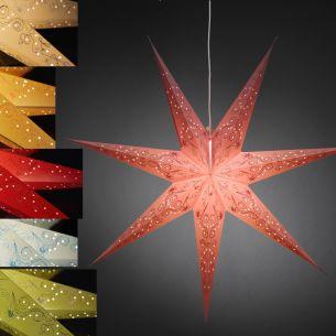 Beleuchteter Papierstern -  Perforiert und bestickt - Inklusive Anschlusskabel - E14 Lampenhalterung - Innen - 7 Farben