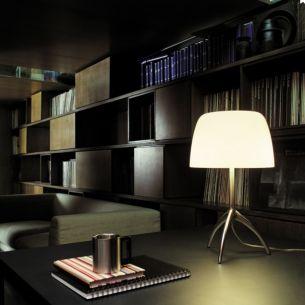 Tischleuchte LUMIERE 05  von Foscarini - G9-Fassung mit Dimmer - Glas - Fuß Aluminium poliert - 4 Schirmfarben
