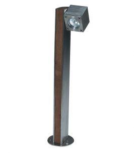 Leuchte aus Teakholz und Edelstahl oder elektrolytisch poliertem Edelstahl, 1 flammiger Strahler