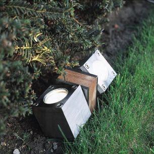 Bodenleuchte aus Teakholz und Edelstahl oder elektrolytisch poliertem Edelstahl, 2 flammiger Strahler 2x 35 Watt