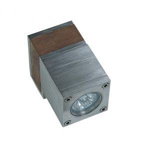 Wandleuchte aus Teakholz und Edelstahl oder elektrolytisch poliertem Edelstahl, 1 flammiger Strahler 1x 35 Watt