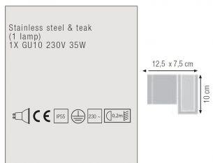 Wandleuchte aus Teakholz und Edelstahl oder elektrolytisch poliertem Edelstahl, 1 flammiger Strahler