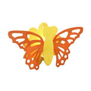 Schöne Wandleuchte in orange/gelb mit Schmetterling-Motiv