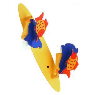 Niedliche 2-flammige Kinderlampe mit Fisch-Applikationen