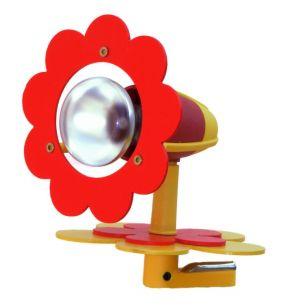Kinder Klemmleuchte Blüte in rot/gelb zum Lesen am Bett oder Tisch