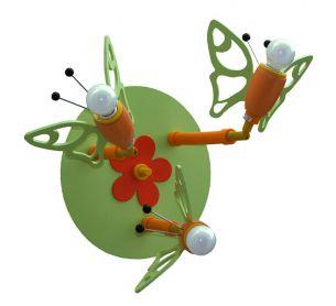 Niedliche Deckenleuchte mit Schmetterlingen - in grün und orange