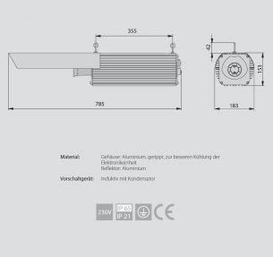 1x 600 Watt, 78,50 cm