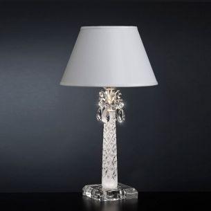 Erstklassige Tischleuchte -Muranoglas mit Kristallbehang -Stofflampenschirm - Schwarz oder Weiß