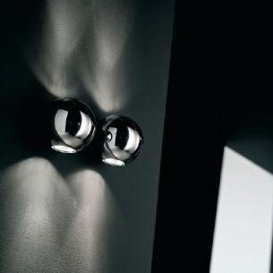 Wandleuchte in Chrom, Wenge oder weiß, zweiseitiger Lichtaustritt, inklusive Leuchtmittel