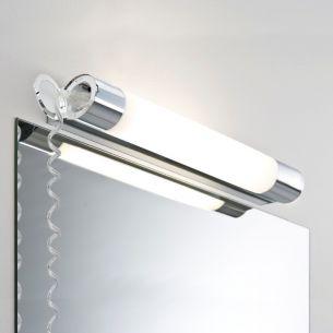 Badezimmerwandleuchte in Chrom mit Acryldiffusor und Steckdose inklusive Leuchtstofflampe 8W oder 14W