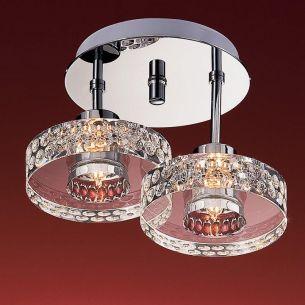 2-flammige runde Deckenleuchte - schwere Glasqualität - inklusive Leuchtmittel