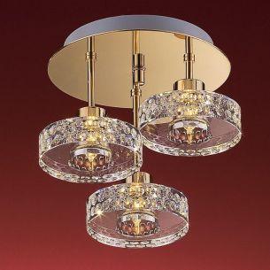 Deckenleuchte, rund und 3 flammig, schwere Glasqualität, inklusive Leuchtmittel gold