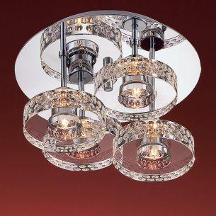 4-flammige runde Deckenleuchte - schwere Glasqualität - inklusive Leuchtmittel