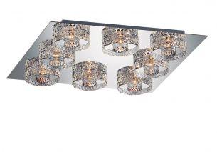 8-flammige eckige Deckenleuchte in Chrom oder Gold - schwere Glasqualität - inklusive Leuchtmittel