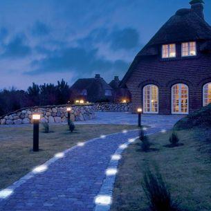 Leuchtender Pflasterstein - 70x85x70 mm - LIGHT STONE BASALT - 5 Farbvarianten - 2 Leuchtmittelstärken