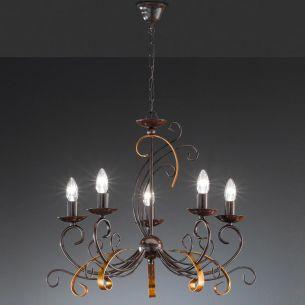 Krone 5 flammig, rostfarbig antik mit goldfarbigen Elementen
