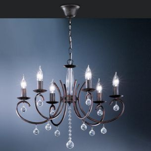 Krone 6 flammig, rostfarbig-antik mit klarem Glasbehang