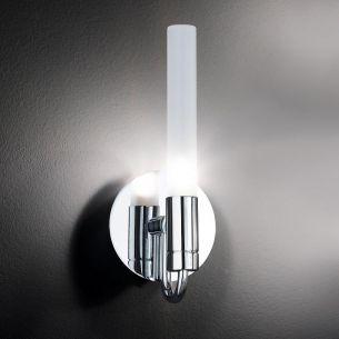 Badleuchte, 1 flammig, chrom, Glas satiniert, weiß, inklusive Osram- Leuchtmittel
