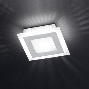 Deckenleuchte mit satiniertem Glas, 1 flammig, 16 x 16 cm 1x 33 Watt, 16,00 cm, 16,00 cm