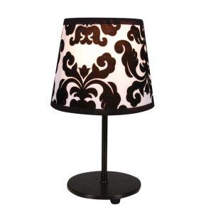 Tischleuchte aus Textil mit floralem Muster, Schirm in den Trendfarben Schwarz und Weiß