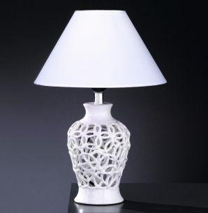 Tischleuchte aus Keramik, filigrane Keramikarbeit in Weiß oder Silber wählbar