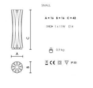 1x 60 Watt, Designerleuchte/Tischleuchte, 42,00 cm, Schnurzwischenschalter, 16,00 cm