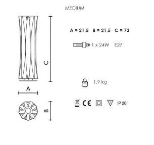 1x 75 Watt, Designerleuchte/Tischleuchte, 73,00 cm, Schnurzwischenschalter, 21,50 cm